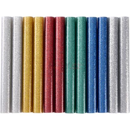 Tyčinky tavné, mix barev se třpytem (glitter), pr.11x100mm, 12ks, EXTOL 9911