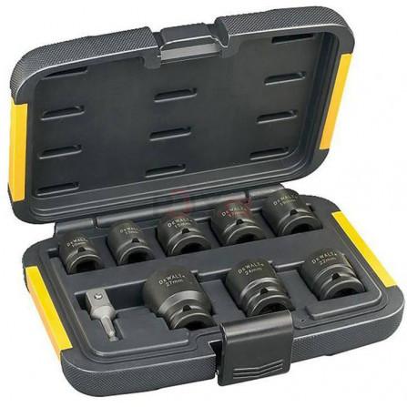 9ks, nástrčkové klíče - 10, 13, 15, 17, 19, 22, 24, 27 mm a redukce z 1/4˝ na 1/2˝, DeWALT DT7507-QZ