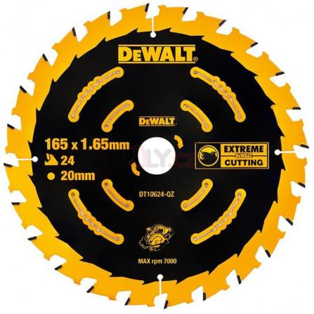 Pilový kotouč 165 x 20 mm, 24 zubů, ATB +20°, univrerzální řez - pro AKU pily, DeWALT DT10624-QZ