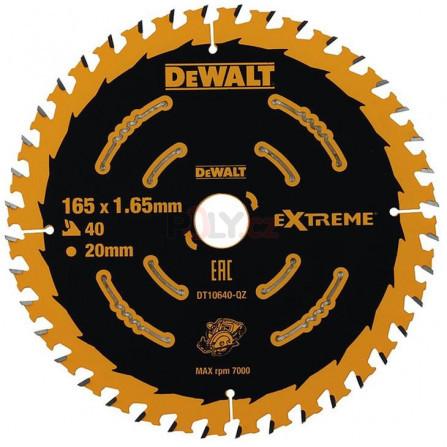 Pilový kotouč 165 x 20 mm, 40 zubů, ATB +20°, jemný řez - pro AKU pily,, DeWALT DT10640-QZ