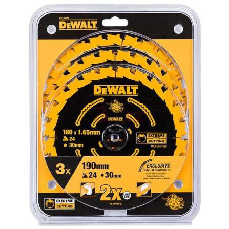 Sada 3ks pilových kotoučů DT10304 (190 x 30 mm, 24 zubů, ATB + 20°, univerzální řez), DeWALT DT10399-QZ
