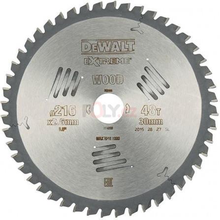 Pilový kotouč 216 × 30 mm, 48 zubů, ATB -5°, univerzální řez, DeWALT DT4320-QZ
