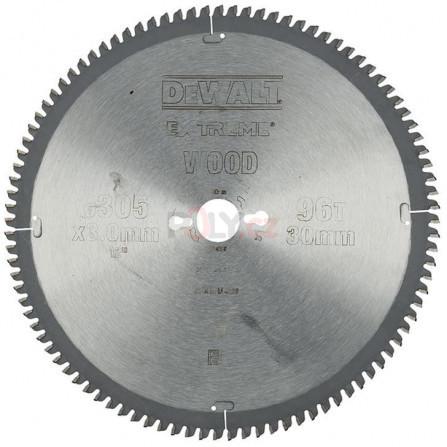 Pilový kotouč 305 × 30 mm, 96 zubů, TCG -5°, dýha, laminát, hliník, DeWALT DT4290-QZ