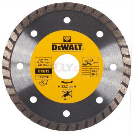 Diamantový kotouč pro turbo řezání - 125 × 22,2 mm pro suché řezání, profesionální ze slinutýchkarbidů - 1, DeWALT DT3712-QZ