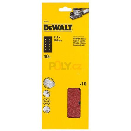 Brusný papír 228 x 115 mm, P 120 10 ks v bal, suchý zip, DeWALT DT8552-QZ