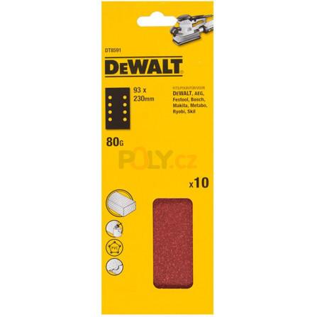 Brusný papír 230 x 93 mm, P 80 10 ks v bal, DeWALT DT8591-QZ