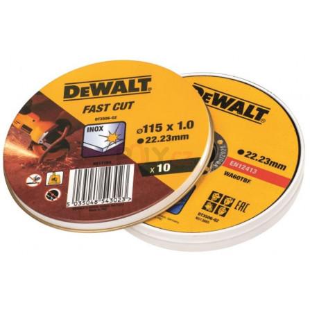 Kotouče pro řezání nerezové oceli - ploché 115x1mm, 10 ks v plechovce, DeWALT DT3506-QZ