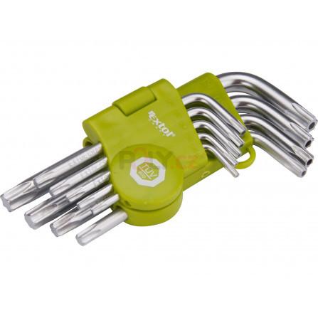 L-klíče TORX, sada 9ks, T 10-50mm, krátké, vrtané, EXTOL 66010