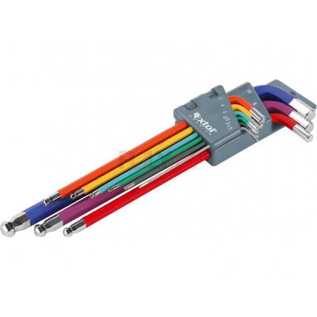 L-klíče IMBUS prodloužené barevné, sada 9ks, s kuličkou, 1,5-10mm, EXTOL 8819315