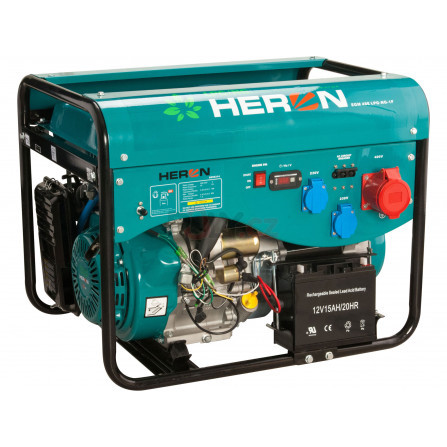 Elektrocentrála benzínová a plynová (LGP/NG) 13HP/5,5kW (400V) 2x2kW (230V), elektrický start, HERON 8896319, LPGG 43-3F