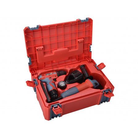 Vrtačka aku, 12V Li-ion (2x) a bruska úhlová 125mm v plastovém boxu, EXTOL 8898311
