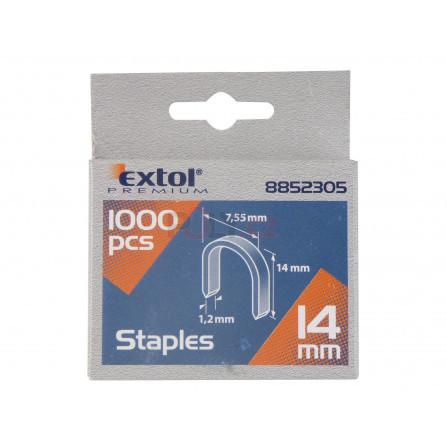 Spony oblé, balení 1000ks, 14mm, 7,55x0,52x1,2mm, EXTOL 8852305